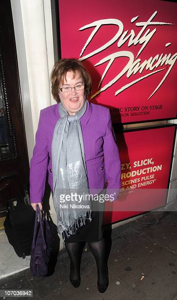 Susan Boyle attends Dirty Dancing Musical at Aldwych Theatre on November 20 2010 in London England