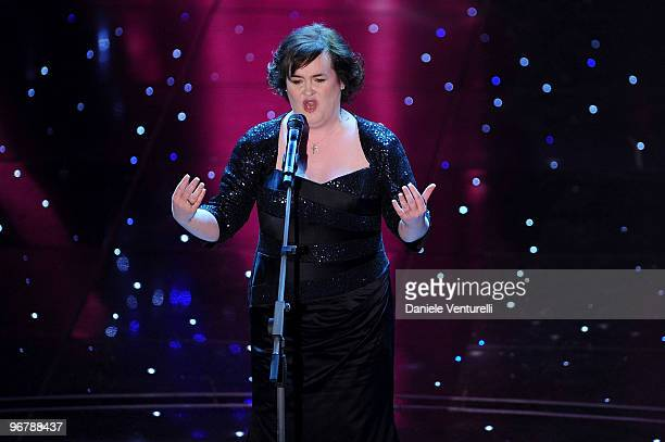 Susan Boyle attends the 60th Sanremo Song Festival at the Ariston Theatre On February 16 2010 in San Remo Italy