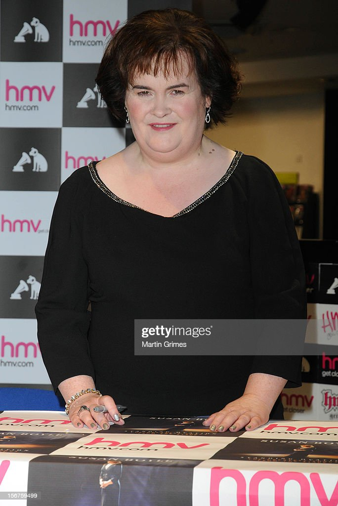 <a gi-track='captionPersonalityLinkClicked' href=/galleries/search?phrase=Susan+Boyle&family=editorial&specificpeople=5810021 ng-click='$event.stopPropagation()'>Susan Boyle</a> meets fans and signs copies of her new album 'Standing Ovation' at HMV on November 20, 2012 in Glasgow, Scotland.
