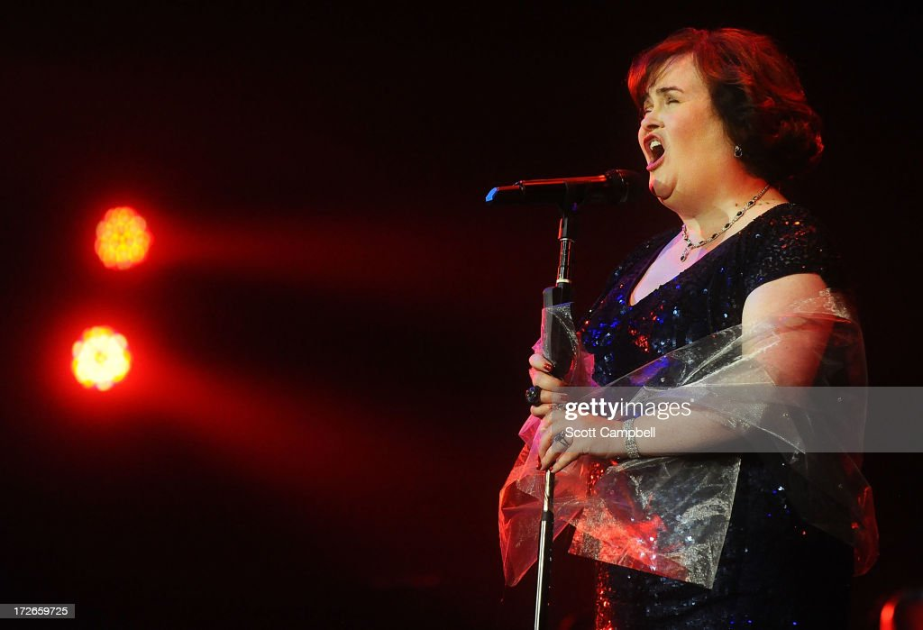<a gi-track='captionPersonalityLinkClicked' href=/galleries/search?phrase=Susan+Boyle&family=editorial&specificpeople=5810021 ng-click='$event.stopPropagation()'>Susan Boyle</a> performs at the Music Hall during her first tour on July 4, 2013 in Aberdeen, Scotland.