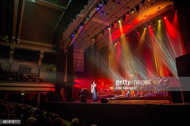 Susan Boyle performs on her birthday during a date of her first UK tour at De Montfort Hall And Gardens on April 1 2014 in Leicester England