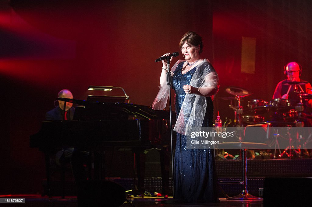 <a gi-track='captionPersonalityLinkClicked' href=/galleries/search?phrase=Susan+Boyle&family=editorial&specificpeople=5810021 ng-click='$event.stopPropagation()'>Susan Boyle</a> performs on her birthday during a date of her first UK tour at De Montfort Hall And Gardens on April 1, 2014 in Leicester, England.