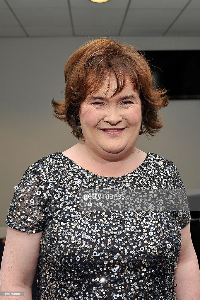 Susan Boyle poses backstage at the Donny and Marie Osmond concert at the 02 Arena on January 20, 2013 in London, England.