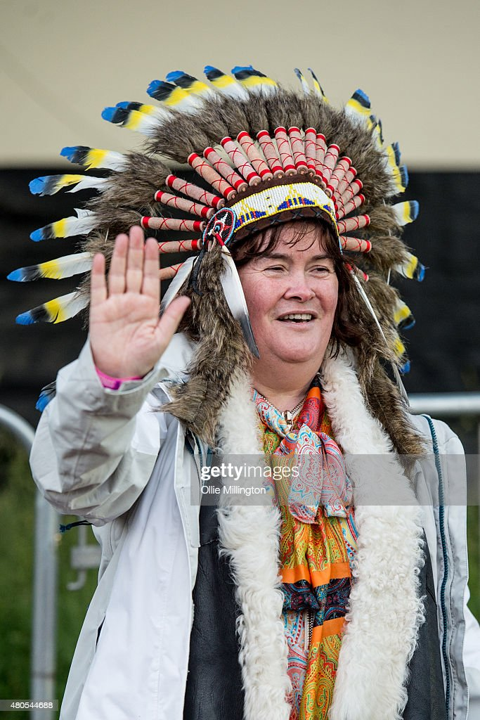 <a gi-track='captionPersonalityLinkClicked' href=/galleries/search?phrase=Susan+Boyle&family=editorial&specificpeople=5810021 ng-click='$event.stopPropagation()'>Susan Boyle</a> poses backstage on her way to watch The Prodigy at the end of Day 3 of the T in the Park festival at Strathallan Castle on July 12, 2015 in Perth, Scotland.