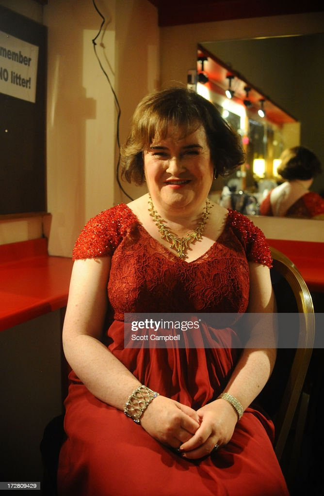 Susan Boyle poses for a portrait in her dressing room at the Music Hall on July 4, 2013 in Aberdeen, Scotland.