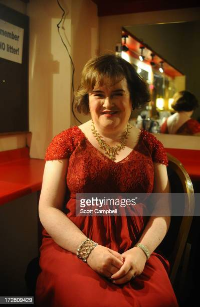 Susan Boyle poses for a portrait in her dressing room at the Music Hall on July 4 2013 in Aberdeen Scotland