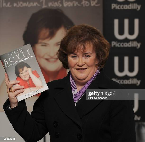 Susan Boyle poses for photos ahead of signing copies of her autobiography 'The Woman I Was Born To Be' at Waterstone's Piccadilly on October 16 2010...