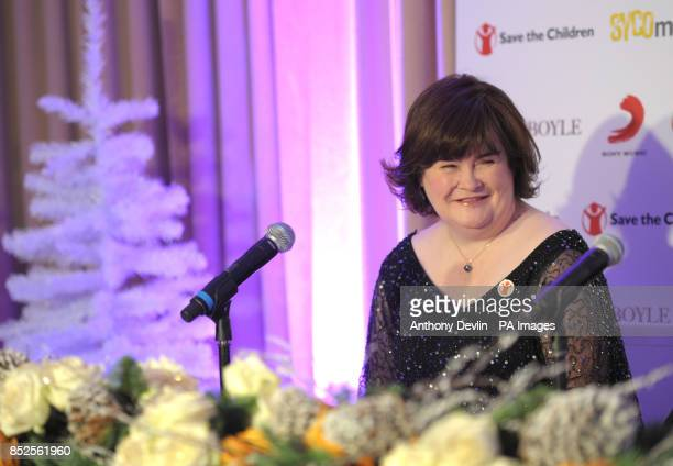 Susan Boyle speaks during a press conference to promote her forthcoming Christmas single 'O Come All Ye Faithful' a duet with Elvis Presley and in...