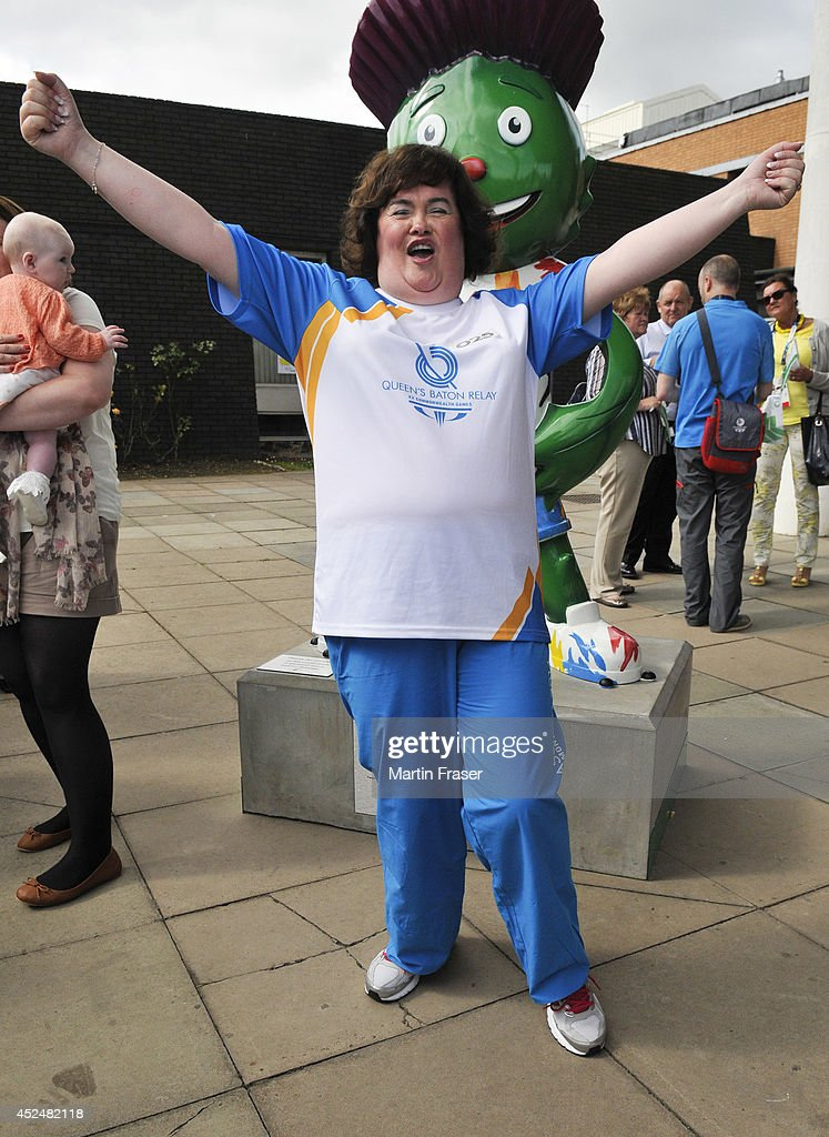 <a gi-track='captionPersonalityLinkClicked' href=/galleries/search?phrase=Susan+Boyle&family=editorial&specificpeople=5810021 ng-click='$event.stopPropagation()'>Susan Boyle</a> visited the Royal Hospital for Sick Children (Yorkhill) after taking parting part in the Commonwealth Games baton relay on July 21, 2014 in Glasgow, Scotland.