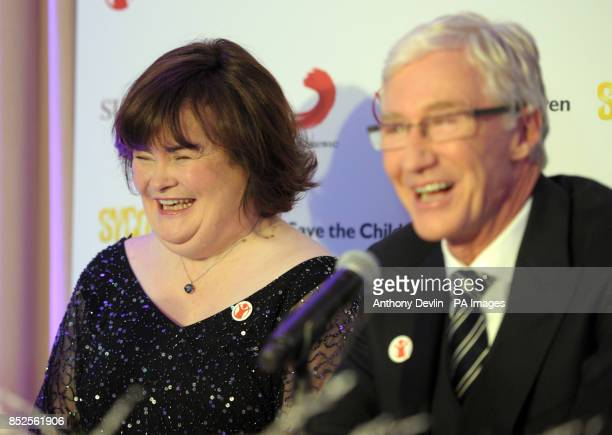 Susan Boyle with Paul O'Grady during a press conference to promote her forthcoming Christmas single 'O Come All Ye Faithful' a duet with Elvis...