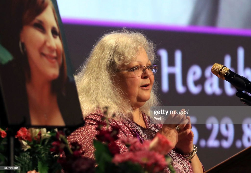 Susan Bro, mother to Heather Heyer, speaks during a memorial for her daughter at the Paramount Theater on August 16, 2017 in Charlottesville, Va. Heyer was killed Saturday, when a car rammed into a crowd of people protesting a white nationalist rally.