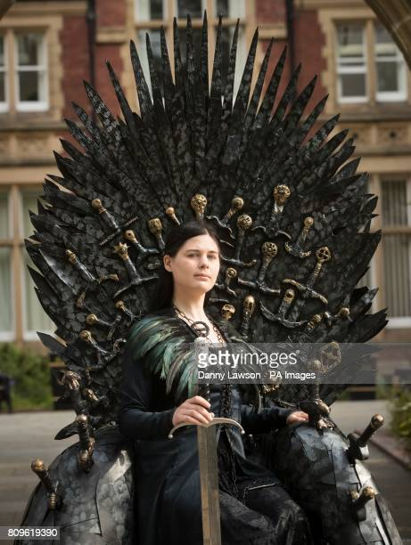 Susan Broadbent dressed as Sansa Stark with a replica of the throne made famous by TVacircs Game of Thrones during the International Medieval...