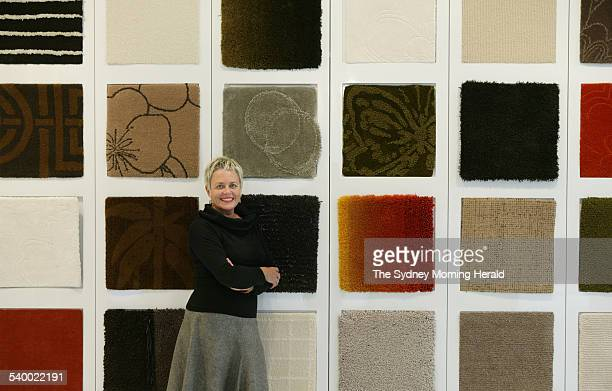 Susan Bromley at CustomWeave carpet and rugs Boundary street Rushcutters Bay with handcrafted rug samples 16 August 2006 SMH Picture by MARCO DEL...