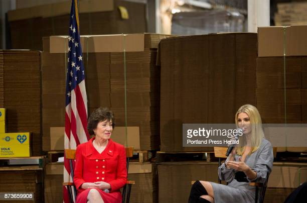 Susan Collins and Ivanka Trump speak on a panel about tax reform alongside US Treasurer Jovita Carranza during an inviteonly forum at Volk Packaging...