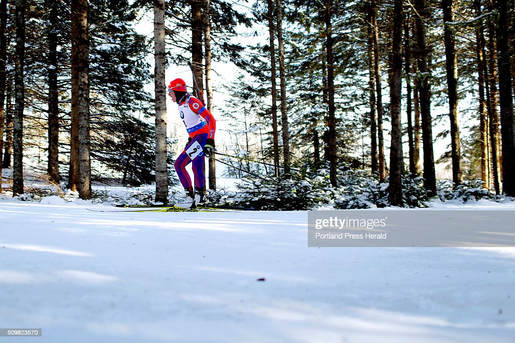 Susan Dunklee (cq) of the United States makers her way through the woods during the women's 10-kilometer pursuit at the BMW IBU World Cup Biathlon at the Nordic Heritage Center in Presque Isle, Friday, February 12, 2016. Dunklee finished fifth overall in the event.