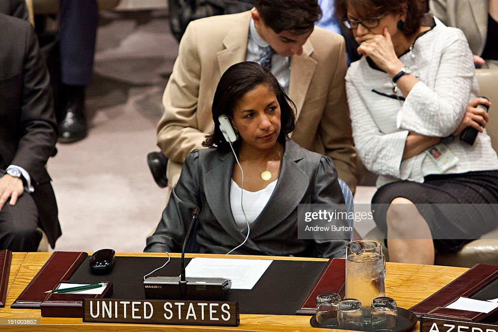 Susan E. Rice, ambassador and U.S. Permanent Representative to the United Nations (UN), attends a UN Security Council meeting regarding the on-going situation in Syria on August 30, 2012 in New York City. UN Security Council negotiations regarding the situation in Syria collapsed last month.