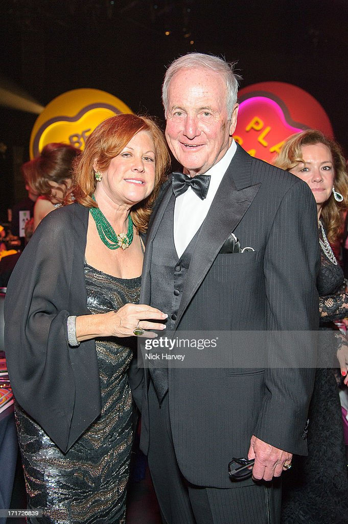 Susan Ekins and Jerry Weintraub attend the 15th Annual White Tie and Tiara Ball to Benefit Elton John AIDS Foundation in Association with Chopard at Woodside on June 27, 2013 in Windsor, England. No sales to online/digital media worldwide until the 14th of July. No sales before July 14th, 2013 in UK, Spain, Switzerland, Mexico, Dubai, Russia, Serbia, Bulgaria, Turkey, Argentina, Chile, Peru, Ecuador, Colombia, Venezuela, Puerto Rico, Dominican Republic, Greece, Canada, Thailand, Indonesia, Morocco, Malaysia, India, Pakistan, Nigeria. All pictures are for editorial use only and mention of 'Chopard' and 'The Elton John Aids Foundation' are compulsory. No sales ever to Ok, Now, Closer, Reveal, Heat, Look or Grazia magazines in the United Kingdom. No sales ever to any jewellers or watchmakers other than Chopard.