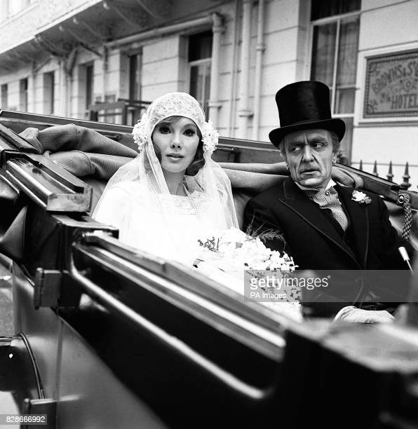 Susan Hampshire in a 1924 style wedding dress as Fleur and Eric Porter drive from Brown's Hotel in the West End on London Fleur's wedding was staged...