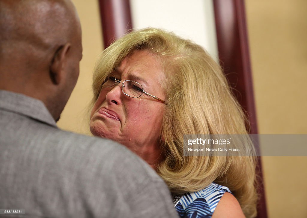 Susan Hanson right tears up as she meets for the first time Jerry Hayes the recipient of her son's heart