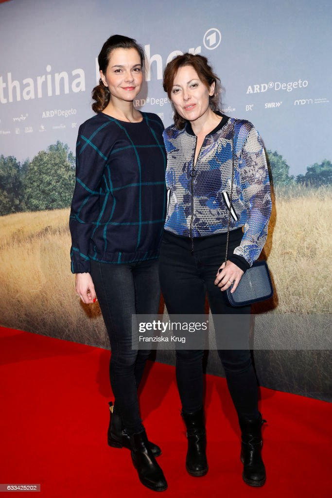 Susan Hoecke and Carolina Vera attend the 'Katharina Luther' Premiere at Franzoesische Friedrichstadtkirche in Berlin on February 1, 2017 in Berlin, Germany.