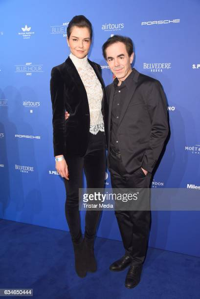 Susan Hoecke and Oscar Ortega Sanchez attend the Blue Hour Reception hosted by ARD during the 67th Berlinale International Film Festival Berlin on...