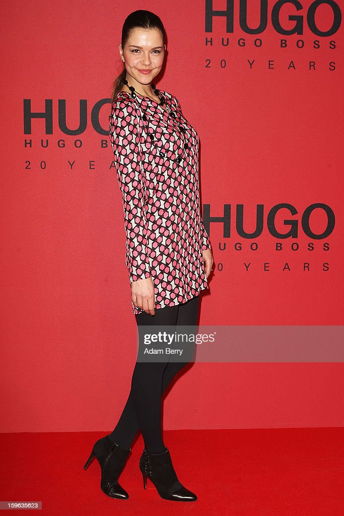 Susan Hoecke attends Hugo By Hugo Boss Autumn/Winter 2013/14 fashion show during Mercedes-Benz Fashion Week Berlin at The Brandenburg Gate on January 17, 2013 in Berlin, Germany.