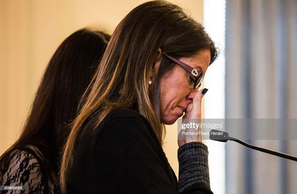 Susan Johnson recounts memories of her son, Derrick Thompson, and his girlfriend, Alivia Welch, who were killed by landlord James Pak in Biddeford in 2012 at the Superior Court in Alfred, ME on Thursday, Feb 11 2016.