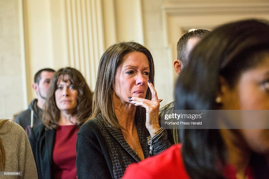 Susan Johnson wipes a tear from her cheek as James Pak receives two life sentences in the murder of her son, Derrick Thompson, and his girlfriend, Alivia Welch, who were killed in Biddeford in 2012 at the Superior Court in Alfred, ME on Thursday, Feb 11, 2016.