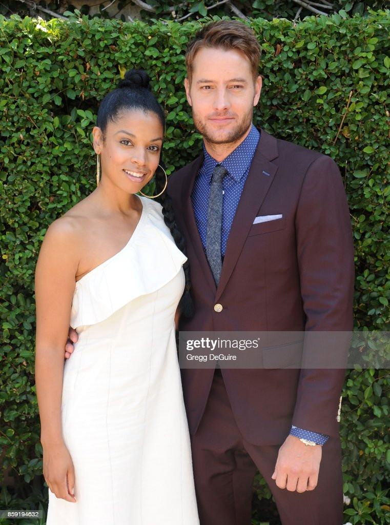 Susan Kelechi Watson and Justin Hartley arrive at The Rape Foundation's Annual Brunch at a private residence on October 8, 2017 in Los Angeles, California.