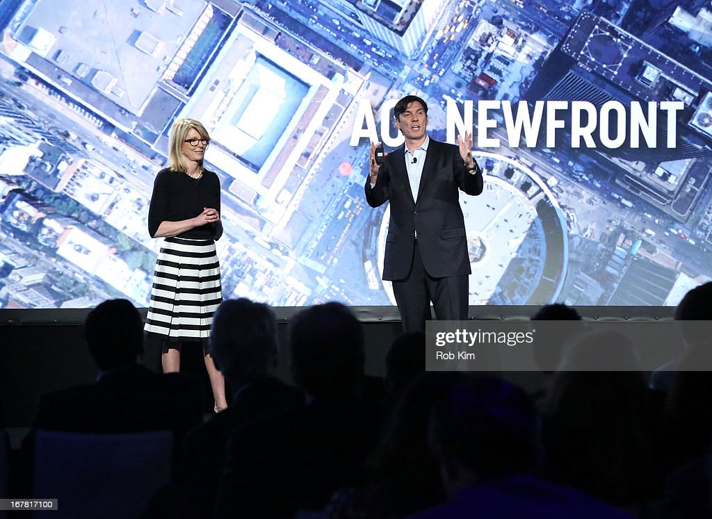 Susan Lyne and AOL CEO Tim Armstrong speak onstage at the AOL 2013 Digital Content NewFront on April 30, 2013 in New York City.