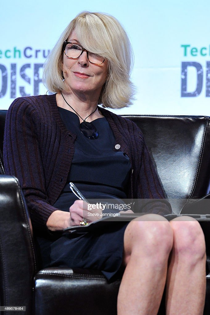 Susan Lyne of BBG Ventures judges Startup Battlefield onstage during day two of TechCrunch Disrupt SF 2015 at Pier 70 on September 22 2015 in San...