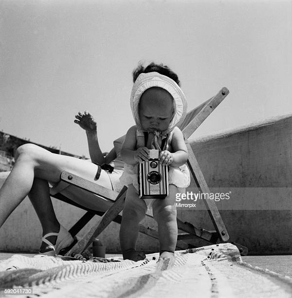Susan May seen here with her mother's camera on Plymouth Hoe Mother in deckchair June 1950 O24582002
