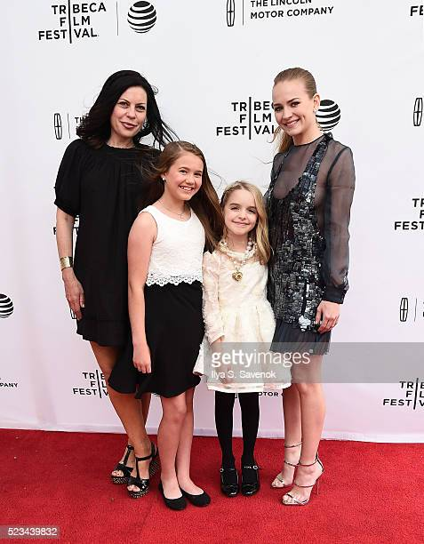 Susan McMartin Natalie Coughlin McKenna Grace and Britt Robertson attend 'Mr Church' Premiere during 2016 Tribeca Film Festival on April 22 2016 in...