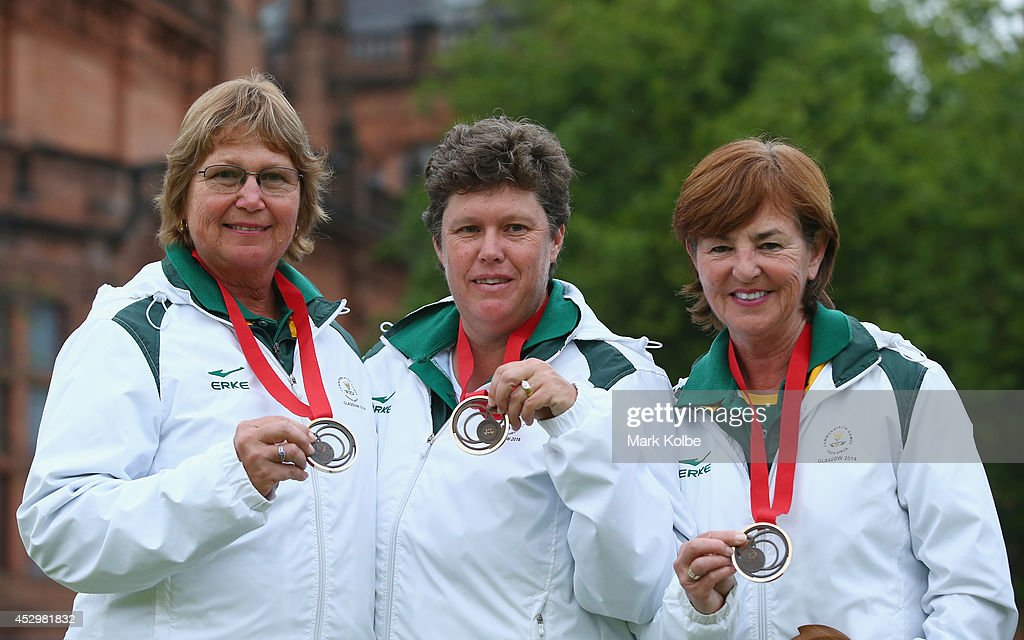 Susan Nel, Santjie Steyn and Esme Steyn of South Africa pose with their bronze medals won during the women's triples at Kelvingrove Lawn Bowls Centre during day eight of the Glasgow 2014 Commonwealth Games on July 31, 2014 in Glasgow, United Kingdom.