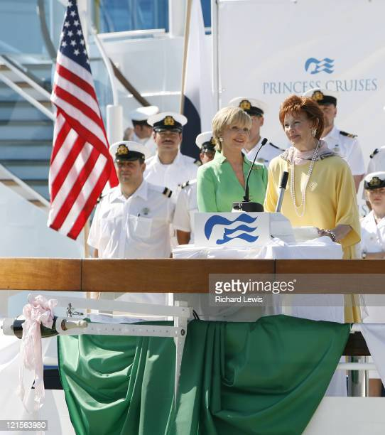 Susan Olsen Florence Henderson Marion Ross and Erin Moran as they christen the new 113000 ton Emerald Princess during a historic Mother's Day naming...
