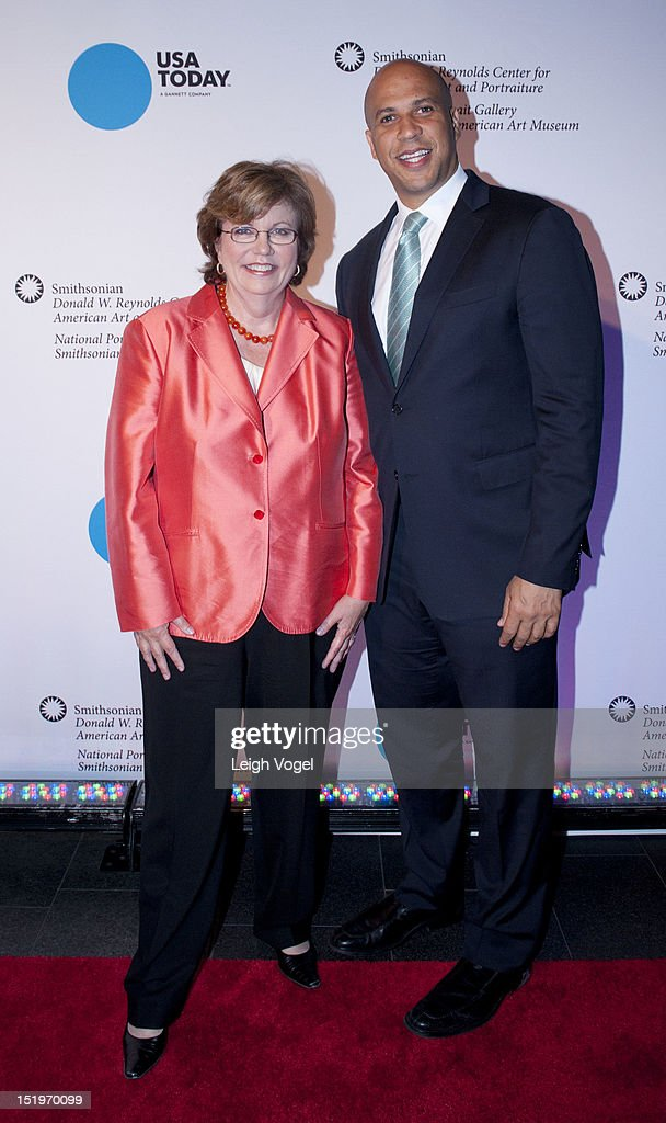 Susan Page and <a gi-track='captionPersonalityLinkClicked' href=/galleries/search?phrase=Cory+Booker&family=editorial&specificpeople=638070 ng-click='$event.stopPropagation()'>Cory Booker</a> attend USA TODAY unveils new look as it celebrates the next 30 years at National Portrait Gallery on September 13, 2012 in Washington, DC.
