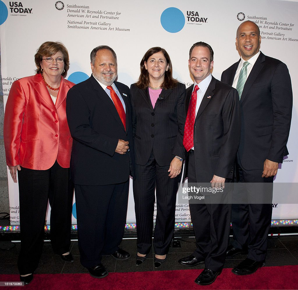 Susan Page, Larry Kramer, Gracia Martore, Reince Priebus and Cory Booker attend USA TODAY unveils new look as it celebrates the next 30 years at National Portrait Gallery on September 13, 2012 in Washington, DC.