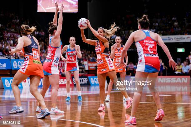 Susan Petett of the Giants controls the ball during the round seven Super Netball match between the Swifts and the Giants at Sydney Olympic Park...