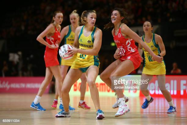 Susan Pettitt of Australia in action during the Quad Series netball match between the England Roses and the Australia Diamonds at the SSE Arena on...