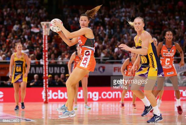 Susan Pettitt of the Giants catches the ball during the round 14 Super Netball match between the Giants and the Lightning at Qudos Bank Arena on May...