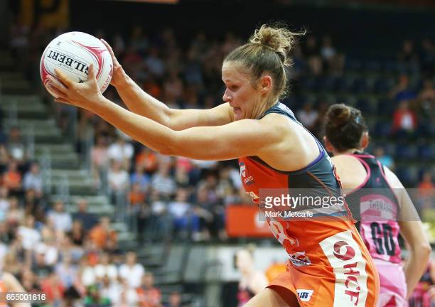 Susan Pettitt of the Giants catches the ball during the round five Super Netball match between the Giants and the Thunderbirds at AIS on March 19...