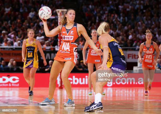 Susan Pettitt of the Giants passes the ball during the round 14 Super Netball match between the Giants and the Lightning at Qudos Bank Arena on May...