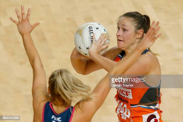 Susan Pettitt of the Giants passes the ball during the Super Netball Preliminary Final match between the Vixens and the Giants at Hisense Arena on...