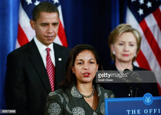 Susan Rice Obama's choice for UNambassador as Presidentelect Barack Obama and Senator Hillary Clinton who has been selected for secretary of state...