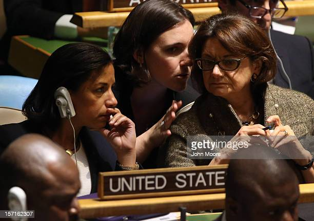 Susan Rice the American ambassador to the United Nations sits with members of the US delegation ahead of a vote at the UN General Assembly on...