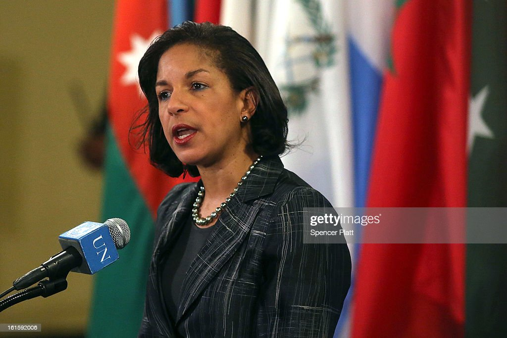 <a gi-track='captionPersonalityLinkClicked' href=/galleries/search?phrase=Susan+Rice&family=editorial&specificpeople=5458775 ng-click='$event.stopPropagation()'>Susan Rice</a>, the U.S. ambassador to the United States, speaks to the media at the United Nations following Security Council Consolations after North Korea announced they have conducted a third nuclear test on February 12, 2013 in New York City. North Korea claimed the device was smaller than in previous tests. Leaders around the world have condemned the nuclear test and have called for swift action against the reclusive country.