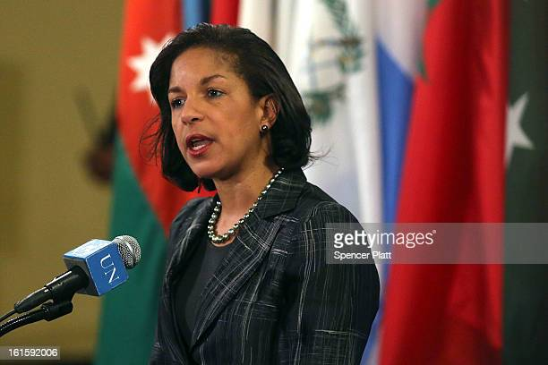 Susan Rice the US ambassador to the United States speaks to the media at the United Nations following Security Council Consolations after North Korea...