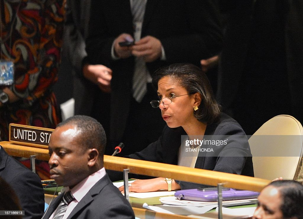Susan Rice, United States Ambassador to the United Nations after the United Nations General Assembly voted to approve a resolution to upgrade the status of the Palestinian Authority to a nonmember observer state November 29, 2012 at UN headquarters in New York. . AFP PHOTO/Stan HONDA