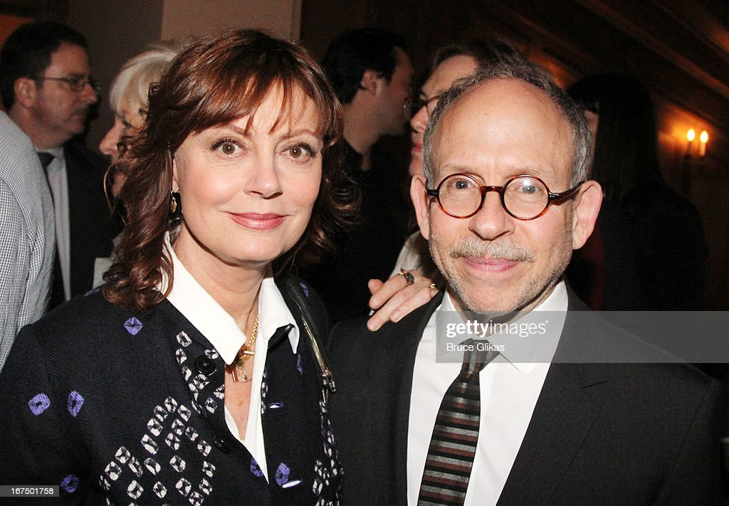 Susan Sarandon and Bob Balaban attend the 'I'll Eat You Last: A Chat With Sue Mengers' Broadway opening night at The Booth Theater on April 24, 2013 in New York City.