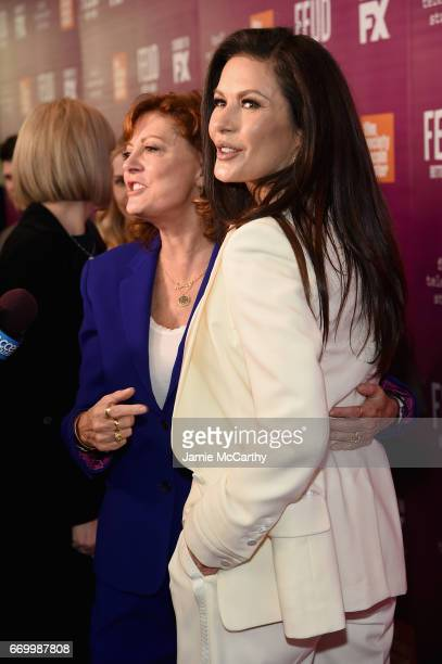 Susan Sarandon and Catherine ZetaJones attend the 'Feud Bette And Joan' NYC Event at Alice Tully Hall at Lincoln Center on April 18 2017 in New York...